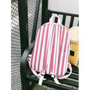 Stripes Casual Practical Travel Backpack - CHESTNUT RED