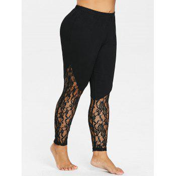 Plus Size See Thru Hem Leggings - BLACK 4X