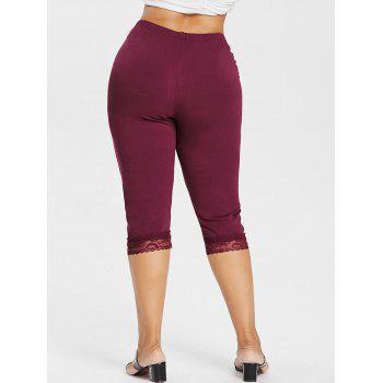 Plus Size High Waisted Lace Hem Leggings - RED WINE 5X