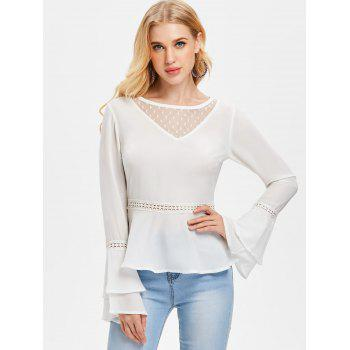 Tiered Bell Sleeve Flare Blouse - WHITE L