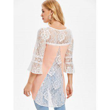 Lace Panel Tunic Chiffon Blouse - ORANGE PINK L