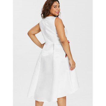 Plus Size Embroidery V Neck Dress - WHITE 2X