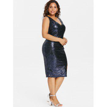 Plus Size V Neck Sequined Dress - CADETBLUE 4X