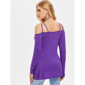 Cut Out Front Long Sleeve T-shirt - PURPLE IRIS S