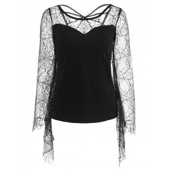 Flare Sleeve Spider Web Lace T-shirt - BLACK L