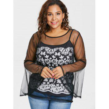 Plus Size See Thru Top with Print Camisole - BLACK 2X