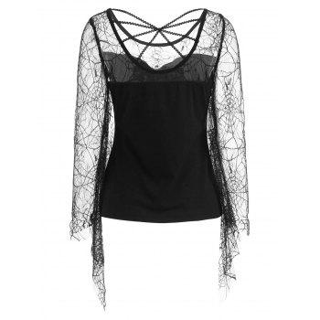 Flare Sleeve Spider Web Lace T-shirt - BLACK XL