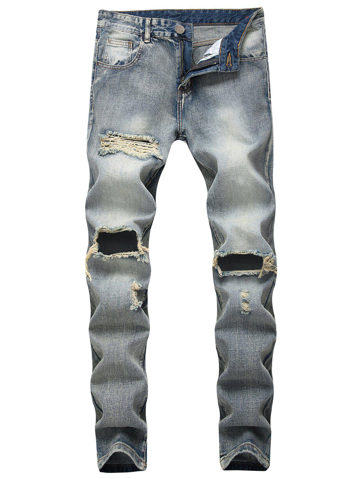 Zip Fly Ripped Faded Wash Jeans - BLUE GRAY 42