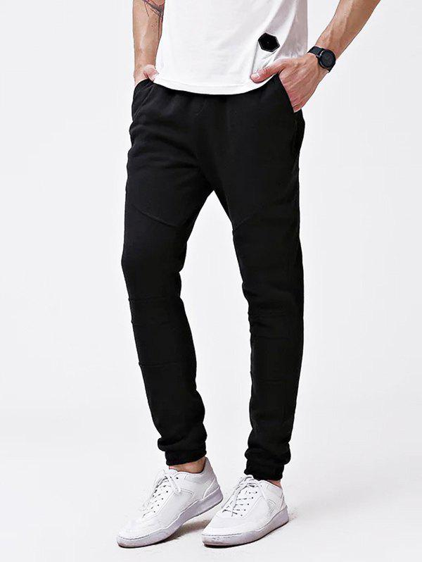 Knee Seam Cuff Elastic Jogger Pants - BLACK M