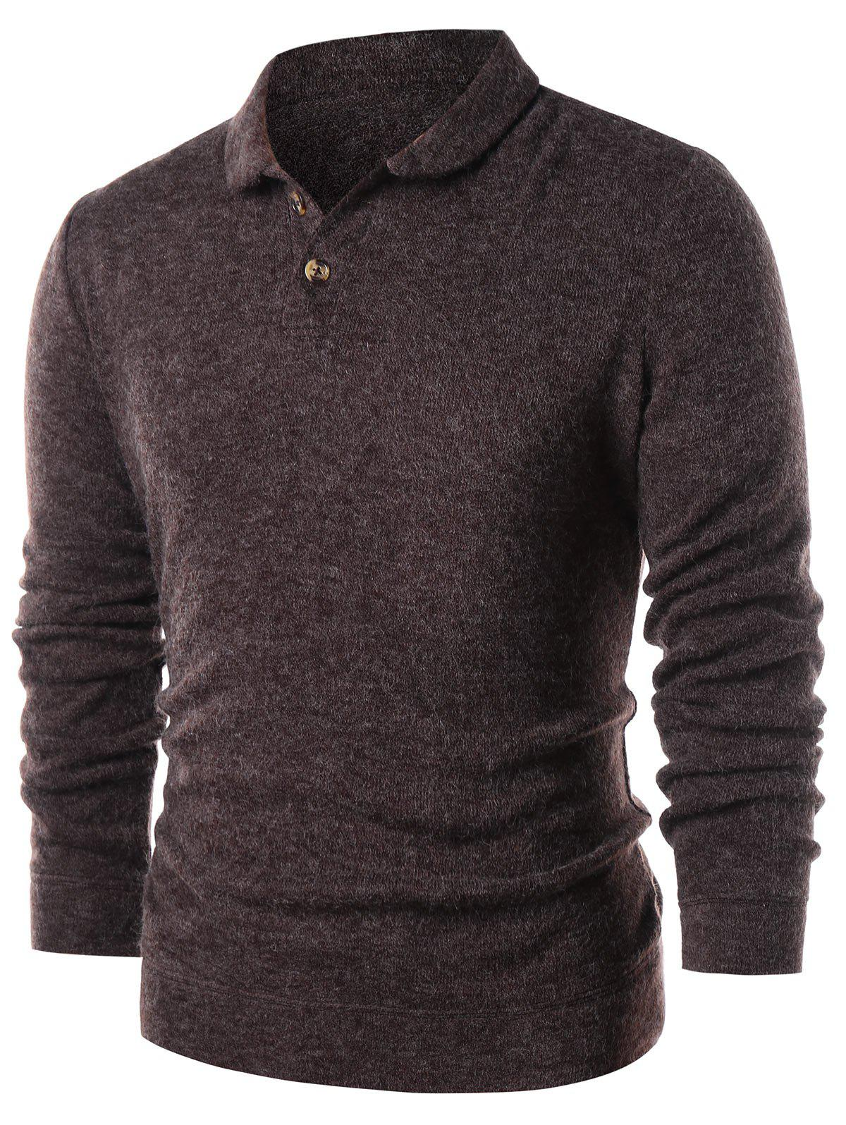 Half Button Solid Color Pullover Sweater - DEEP BROWN XL