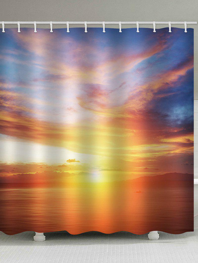 Sunset Sea Print Waterproof Shower Curtain - multicolor W65 INCH * L71 INCH