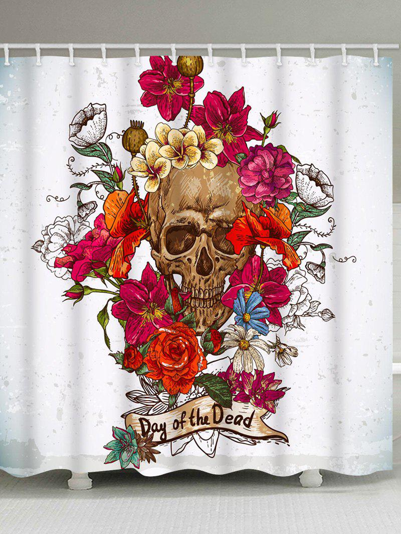 Flowers and Skull Print Waterproof Shower Curtain - multicolor W71 INCH * L71 INCH