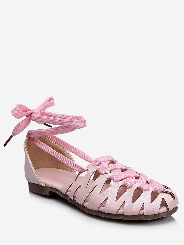 Plus Size Flat Heel Hollow Out Lace Up Sandals - PINK 39