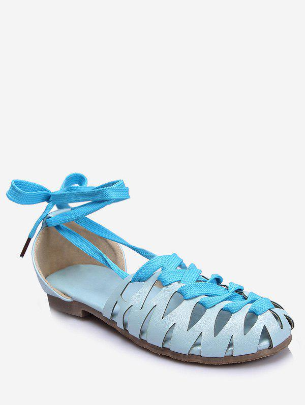 Plus Size Flat Heel Hollow Out Lace Up Sandals - DENIM BLUE 39