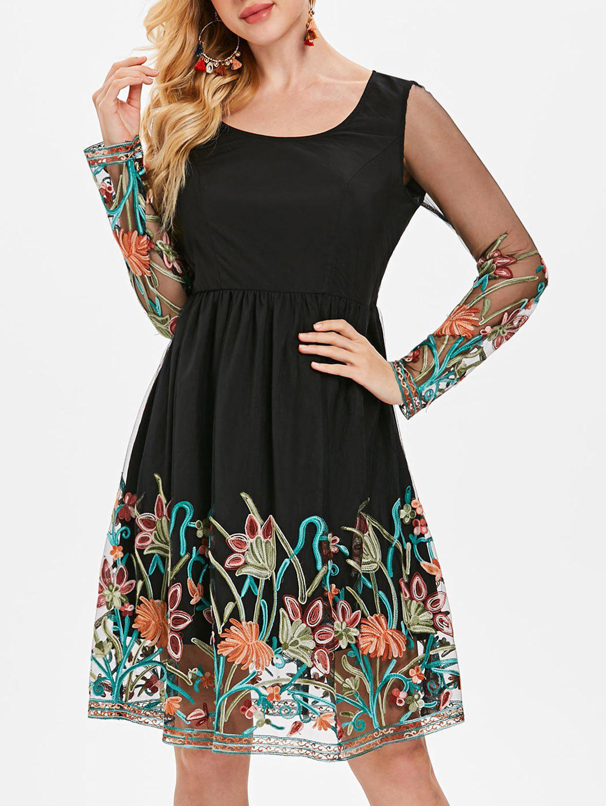 Embroidered Mesh Panel Fit and Flare Dress - BLACK M
