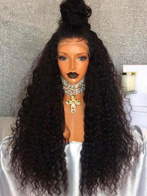 Free Part Long Fluffy Water Wave Synthetic Lace Front Wig - NATURAL BLACK
