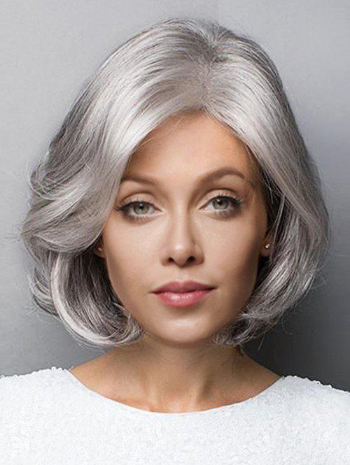 Short Side Parting Fluffy Slightly Curled Bob Synthetic Wig - FROST