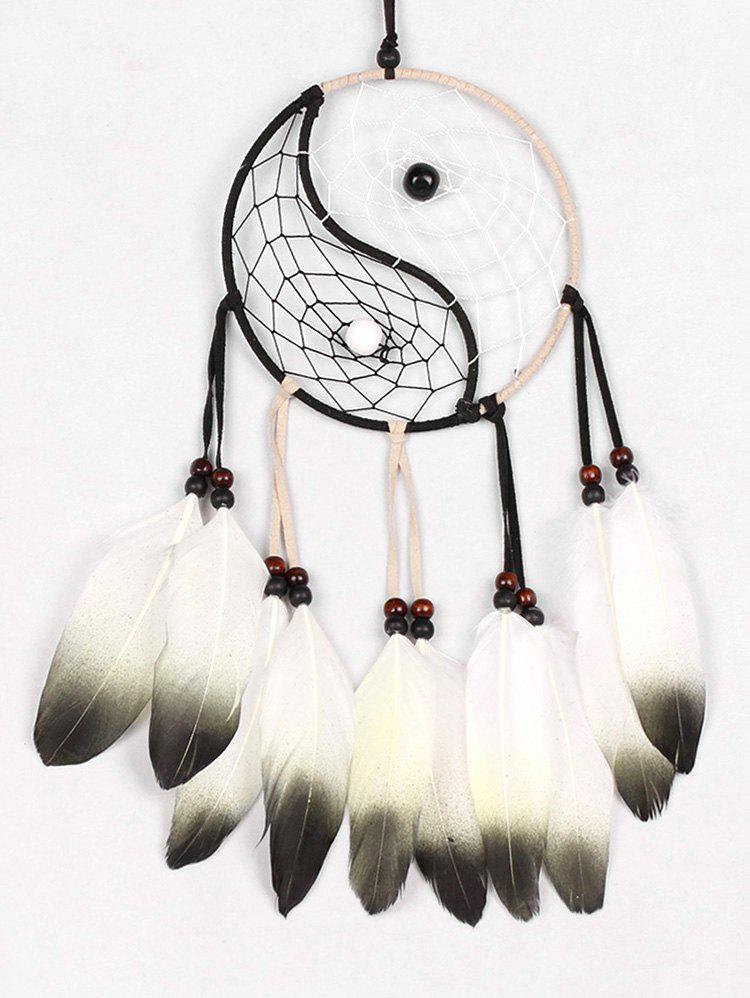Feathers Beads Tai Chi Pattern Dream Catcher - multicolor 55*15CM