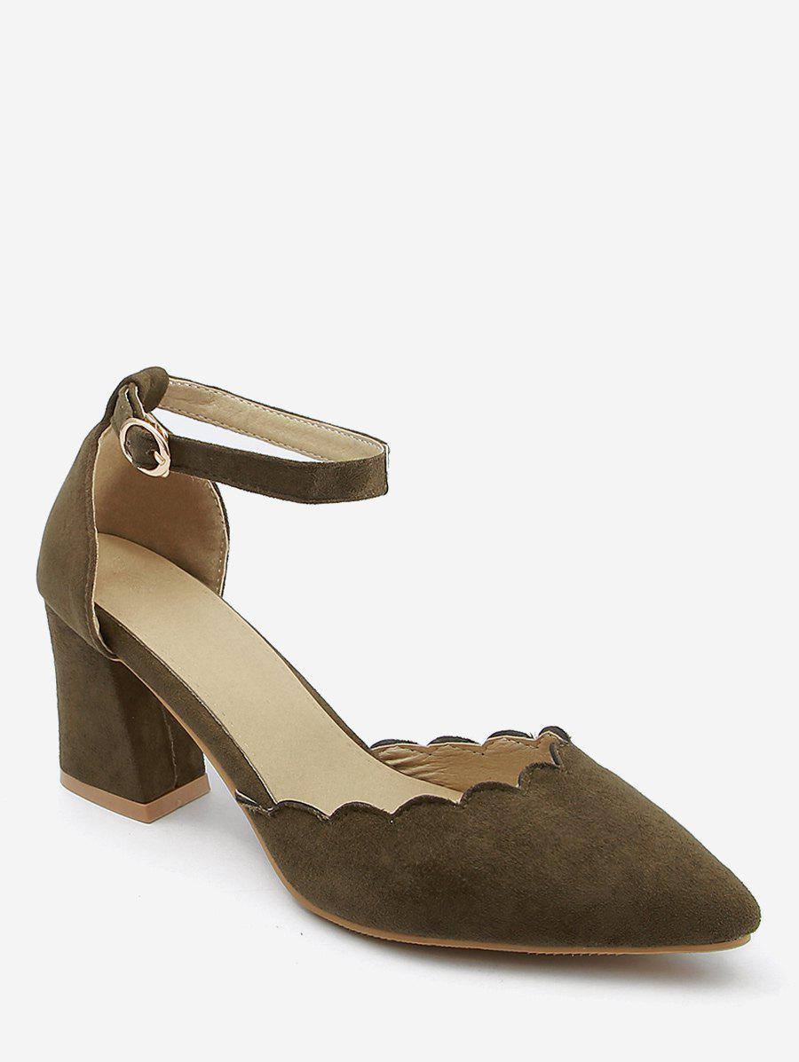 Plus Size Block Heel Ankle Strap Scallop Pumps - DARK KHAKI 43