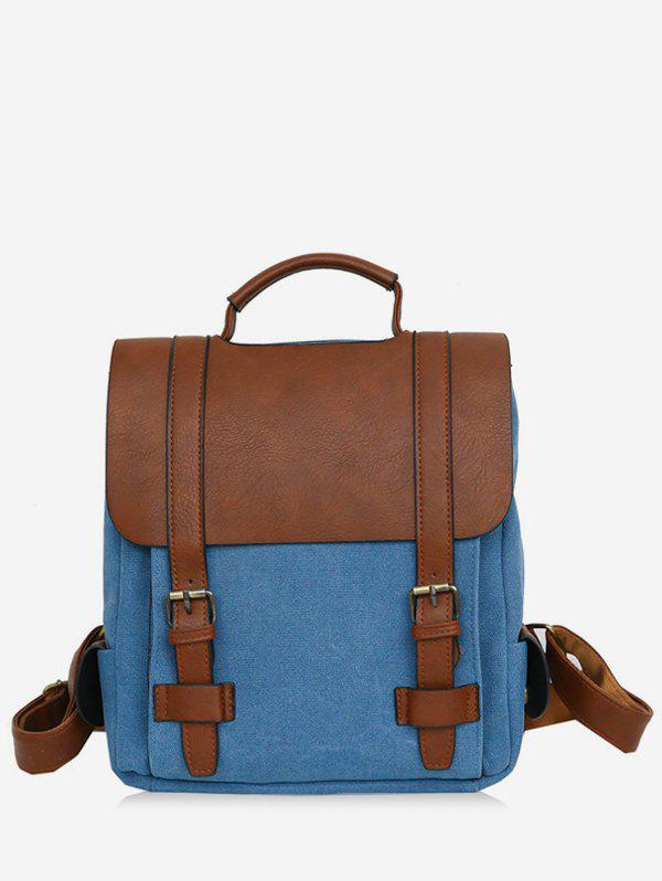 Leisure Contrasting Color Vintage Travel Backpack - ROYAL BLUE