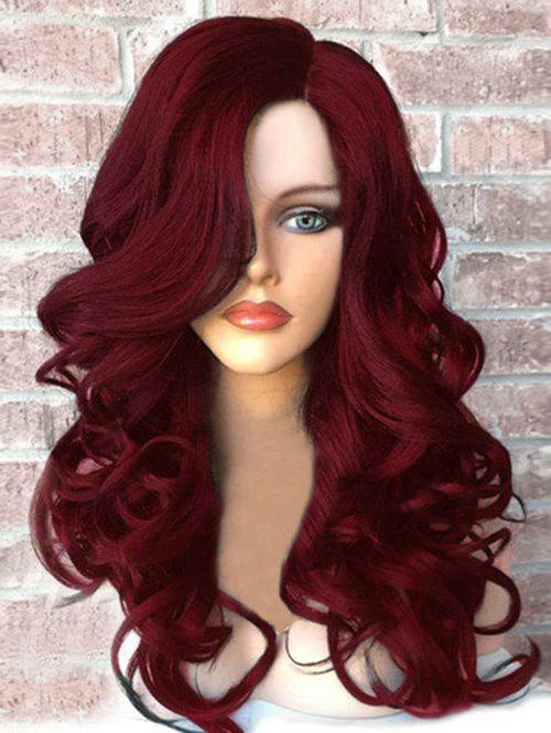 Side Part Fluffy Long Wavy Synthetic Wig - WINE RED