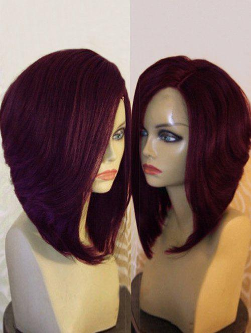 Side Part Natural Straight Short Synthetic Wig - WINE RED