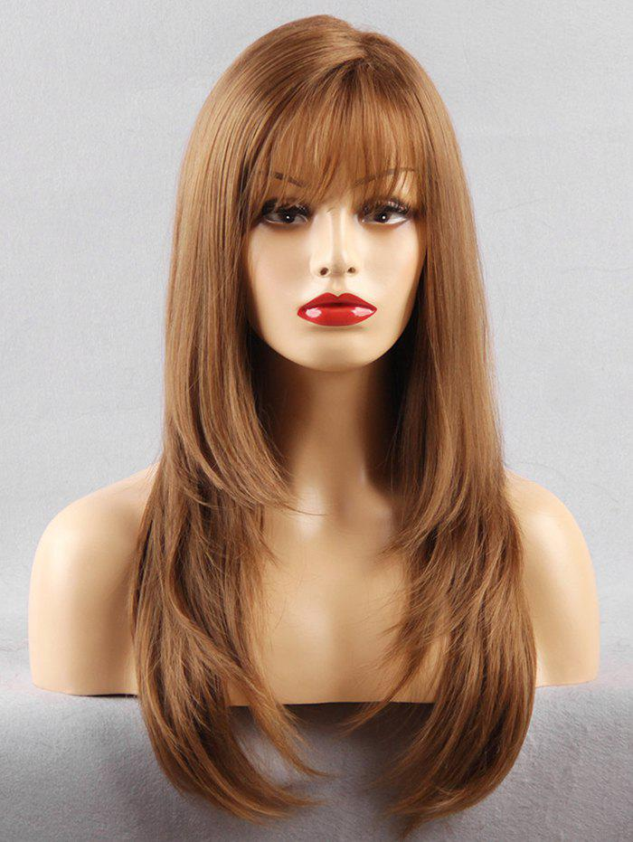 See-through Fringe Long Layered Straight Synthetic Wig - LIGHT BROWN 22INCH