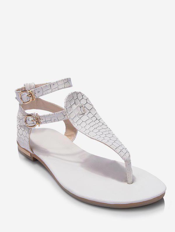 Plus Size T Strap Ankle Strap Sandals - WHITE 39