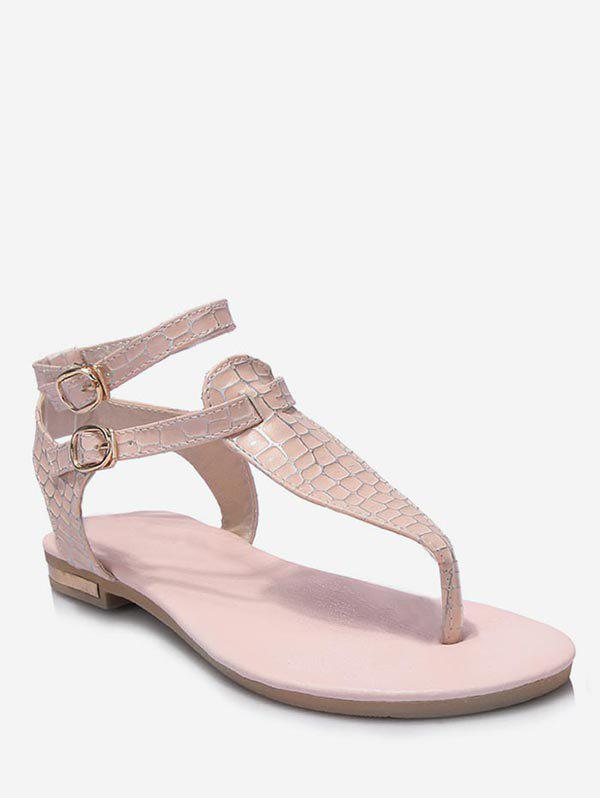 Plus Size T Strap Ankle Strap Sandals - PINK 40