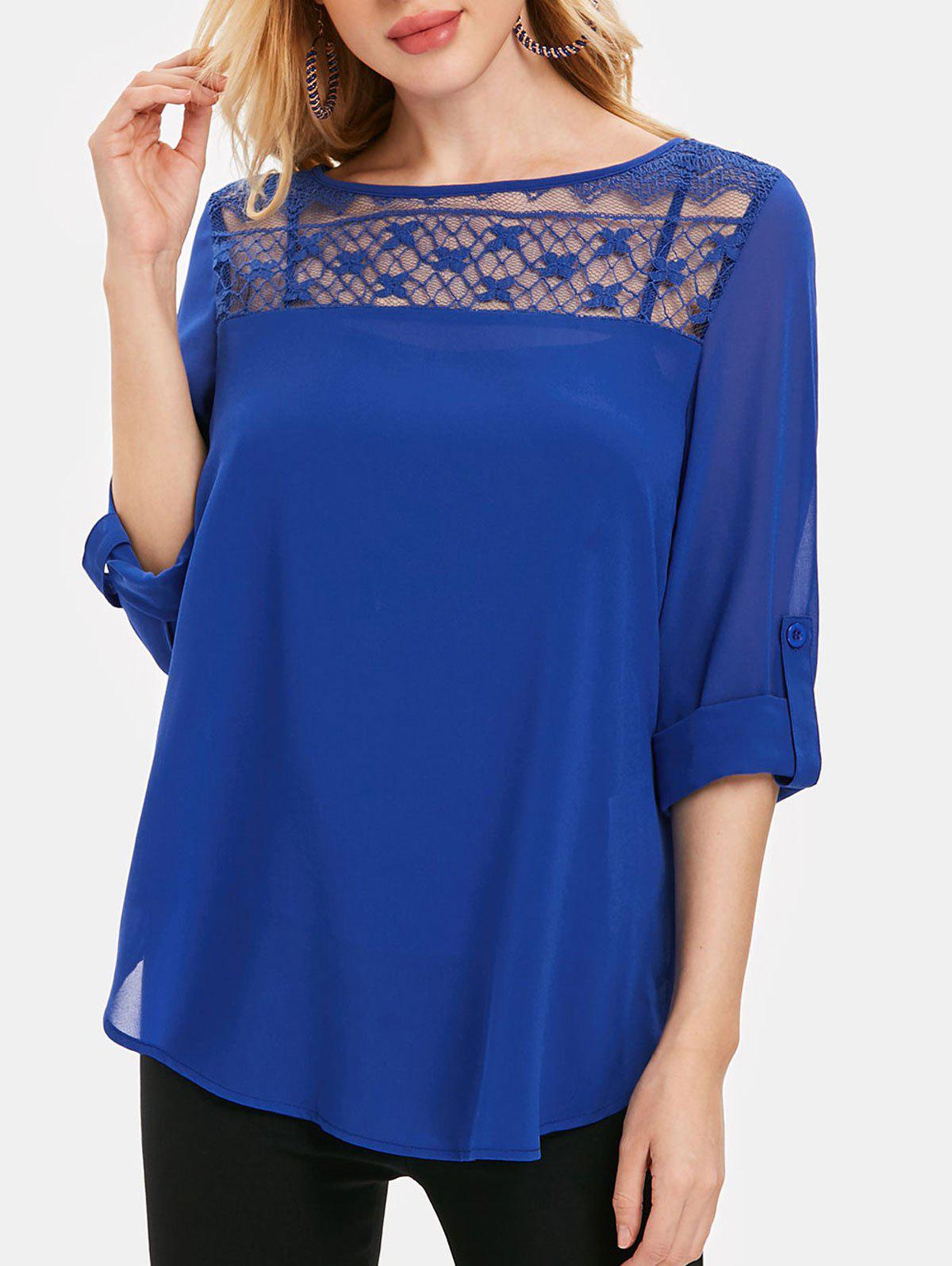 Lace Insert Roll Tab Sleeve Chiffon Blouse - BLUEBERRY BLUE 2XL