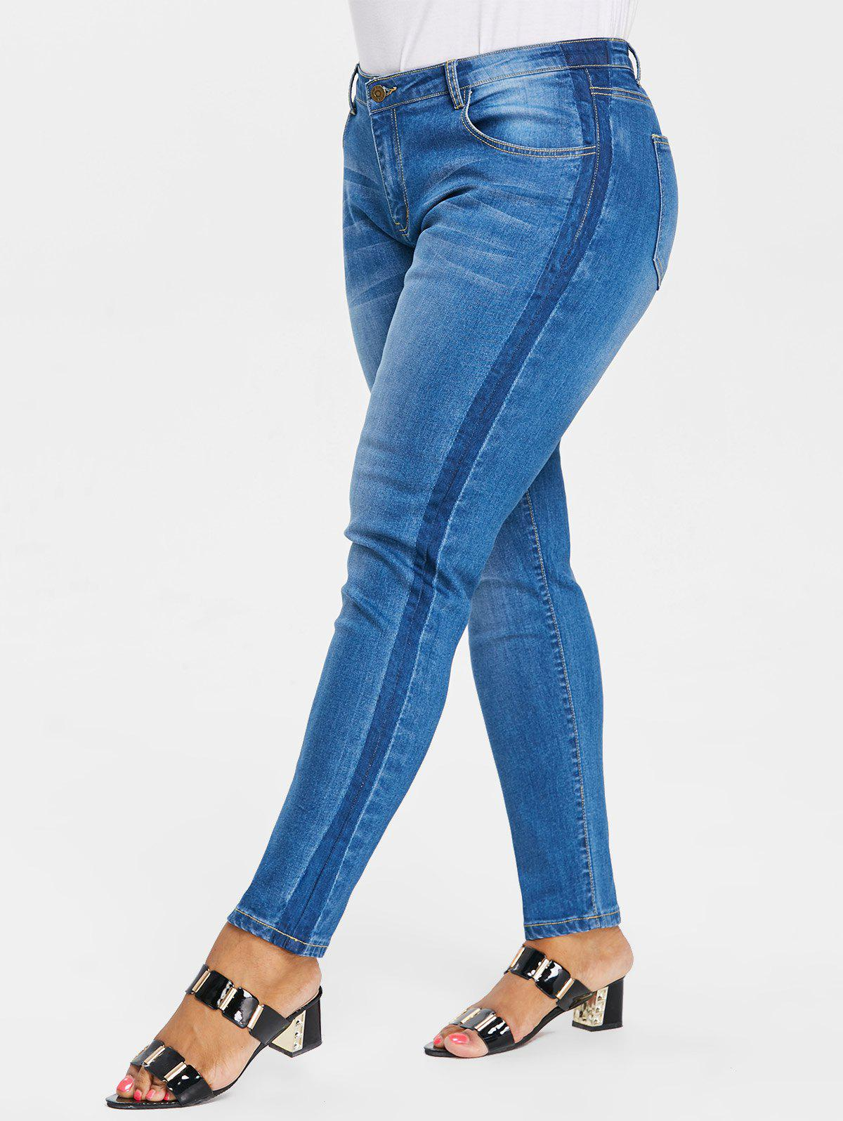 Plus Size Tight Denim Pants - DENIM BLUE 1X