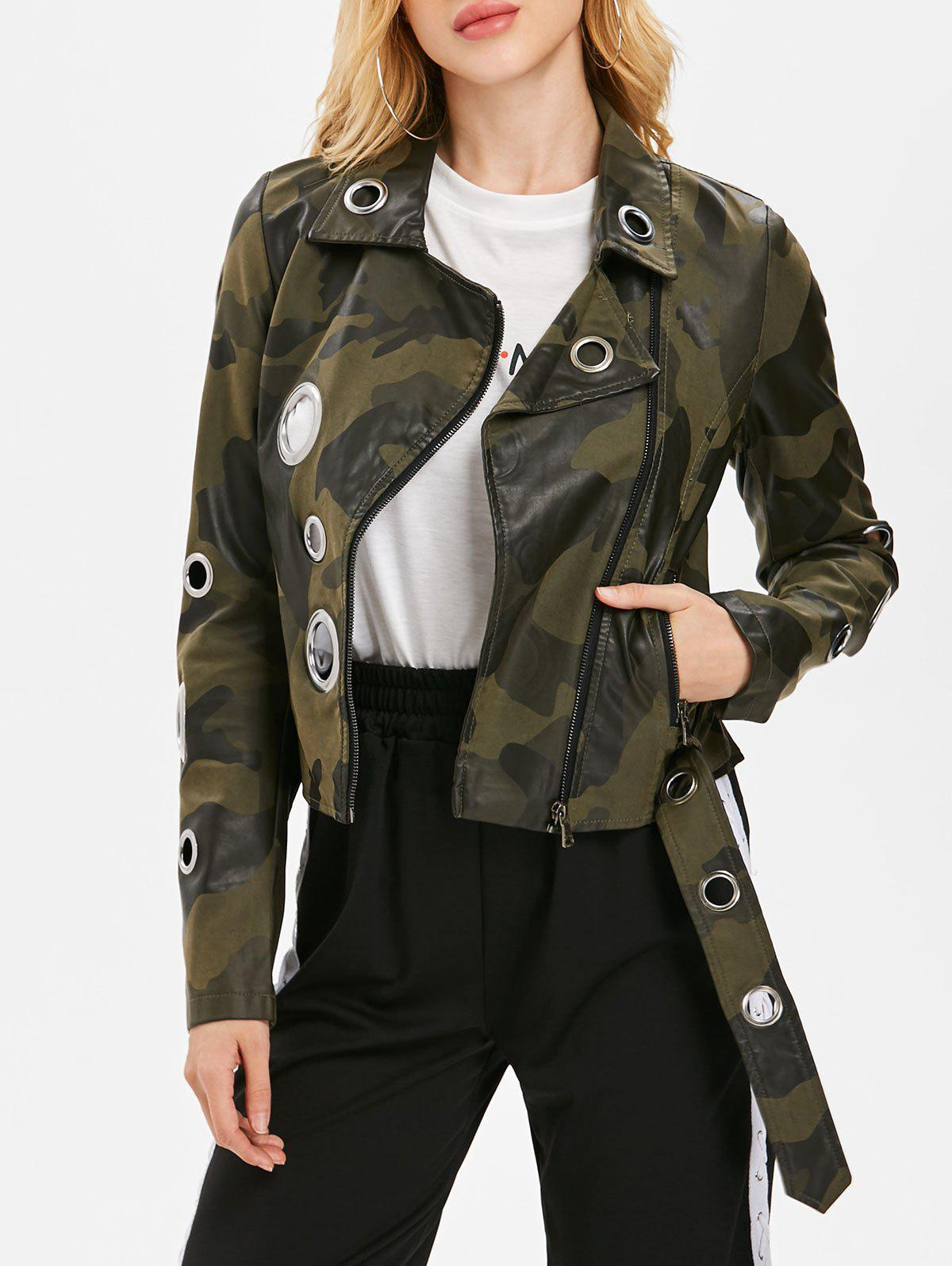 Camo Hollow Out Ring Motorcycle Jacket - CAMOUFLAGE GREEN L