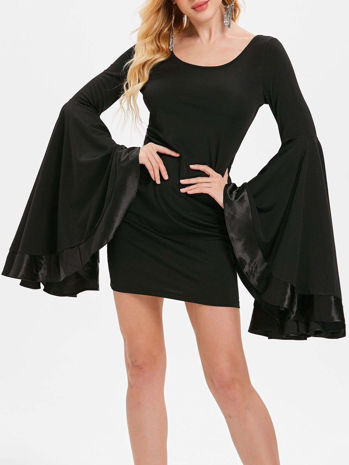 Layered Trumpet Sleeve Bodycon Dress - BLACK L