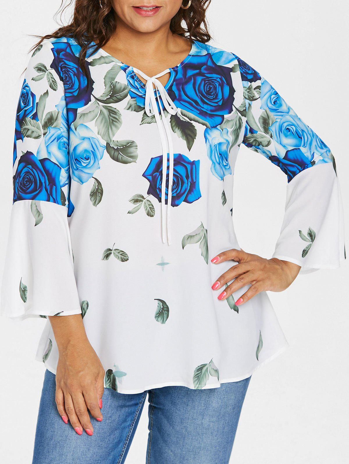 Plus Size Bell Sleeve Rose Pattern Blouse - BLUE 1X