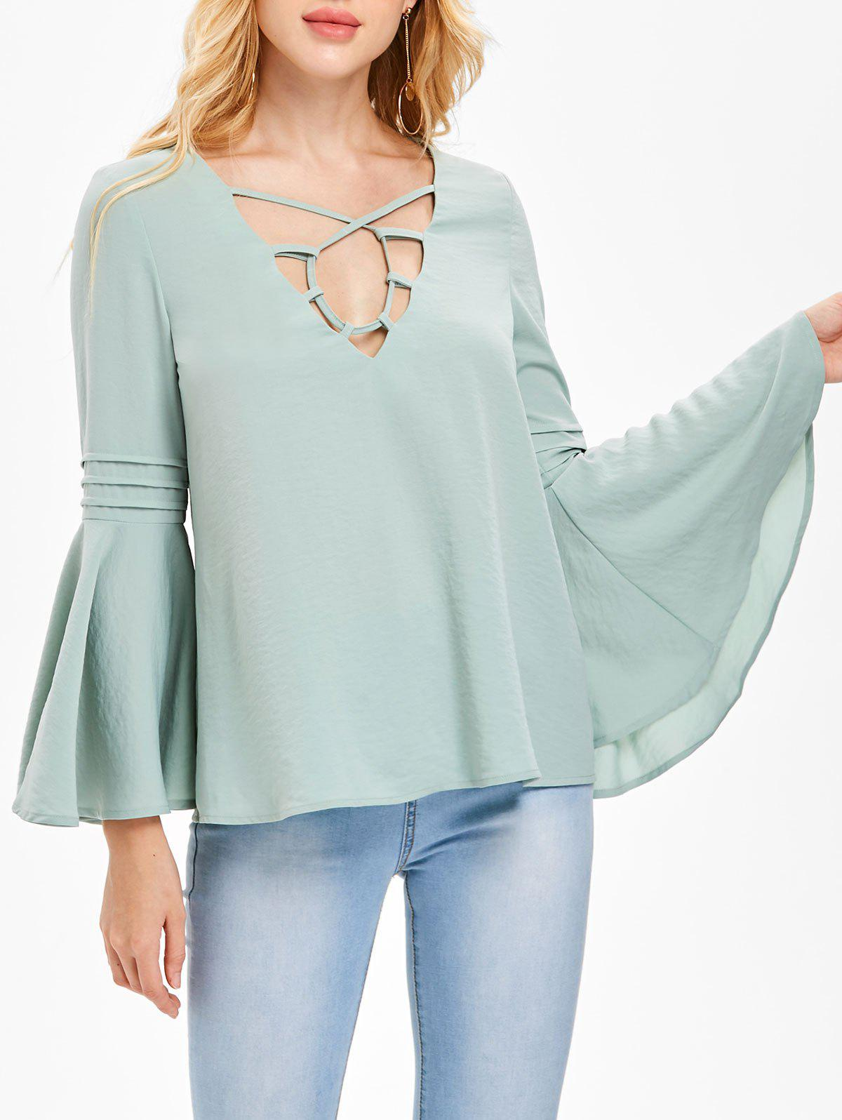 V Neck Strappy Flare Sleeve Top - BLUE GREEN M