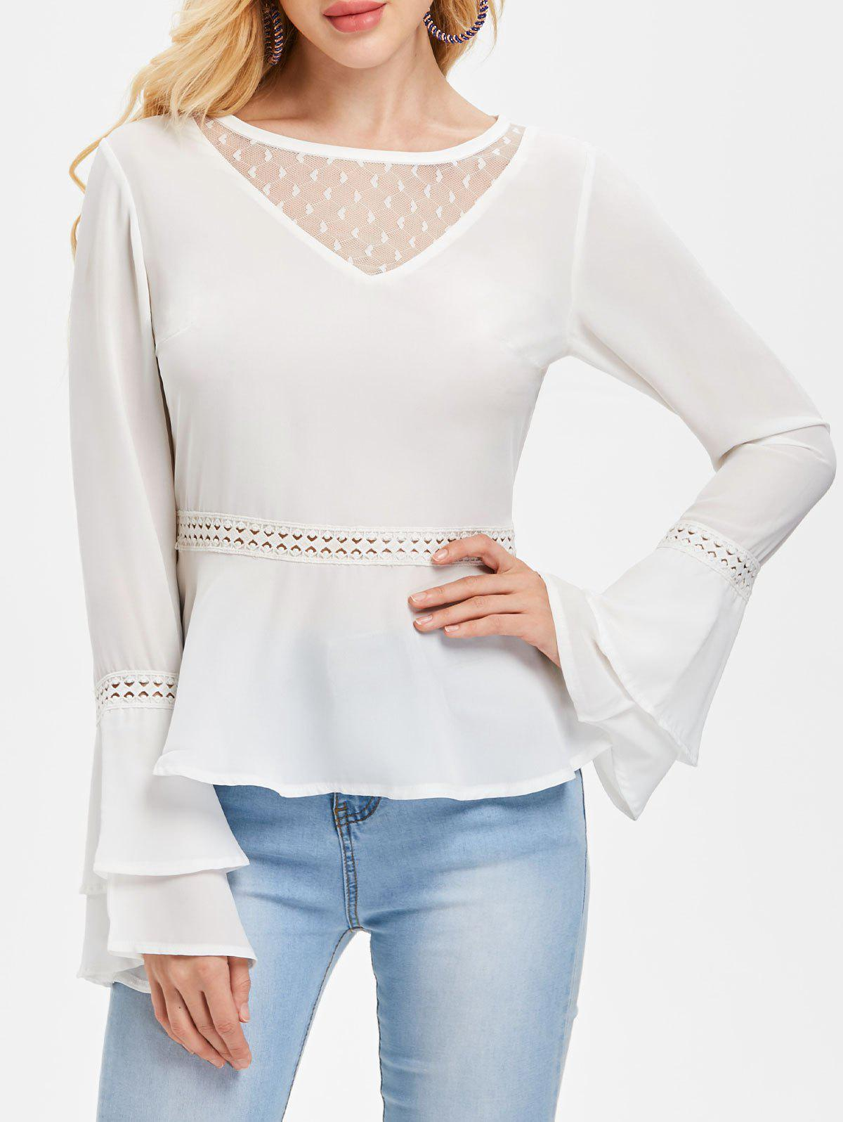 Tiered Bell Sleeve Flare Blouse - WHITE 2XL