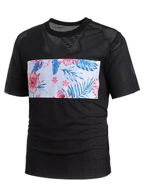 Limited Offer 2019 Short Sleeve Mesh Floral Print Patch Tee Shirt