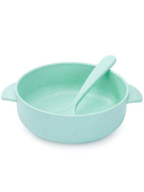 Plastic Bowl with Spoon - PALE BLUE LILY