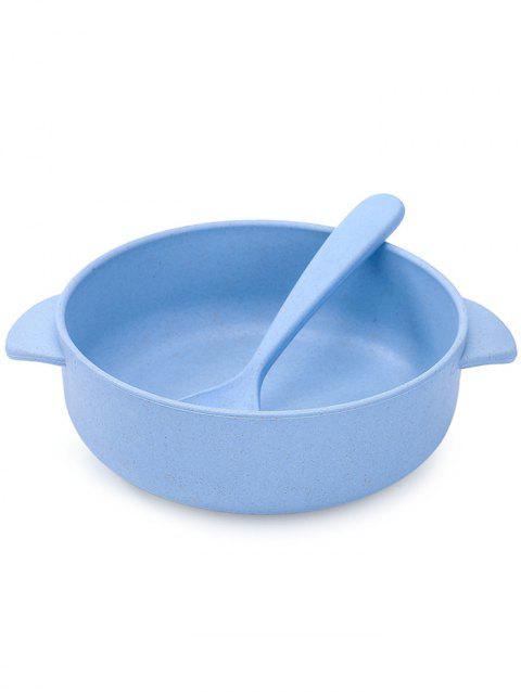 Plastic Bowl with Spoon - PASTEL BLUE