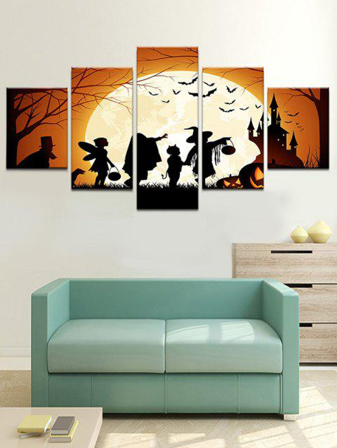 Halloween Moon Night Terror Castle Printed Wall Art Canvas Paintings - multicolor 1PC:8*20,2PCS:8*12,2PCS:8*16 INCH( NO FRAME )