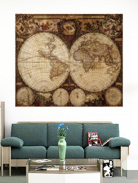 Old Globe World Map Print Removable Wall Stickers - multicolor W24 INCH * L24 INCH