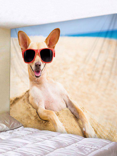 Beach Funny Dog Print Tapestry Art Decoration - multicolor W91 INCH * L71 INCH