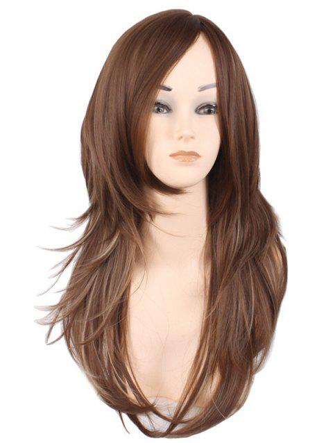 Long Side Bang Layer Colormix Natural Straight Synthetic Wig - BROWN