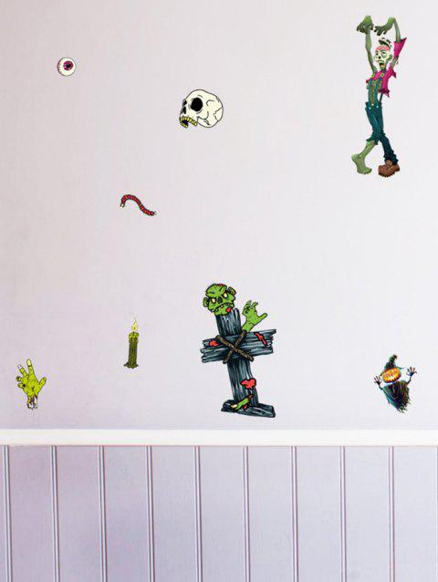 Halloween Pumpkin Zombie Print Removable Wall Stickers - multicolor