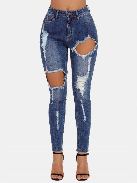 Distressed High Waist Jeans - JEANS BLUE L