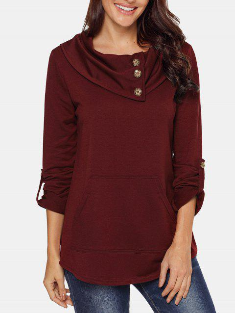 Cowl Neck Button Embellished Sweatshirt - RED WINE L