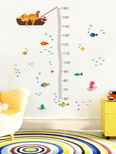 Cat Underwater World Pattern Height Growth Chart Wall Stickers - multicolor