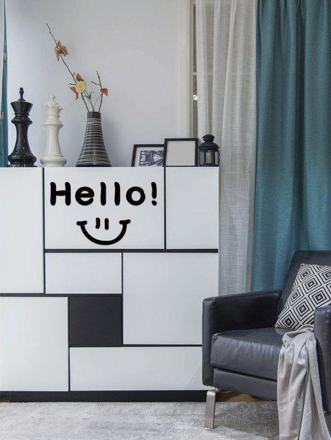 Smiley Face Letter Pattern Decorative Wall Sticker - BLACK