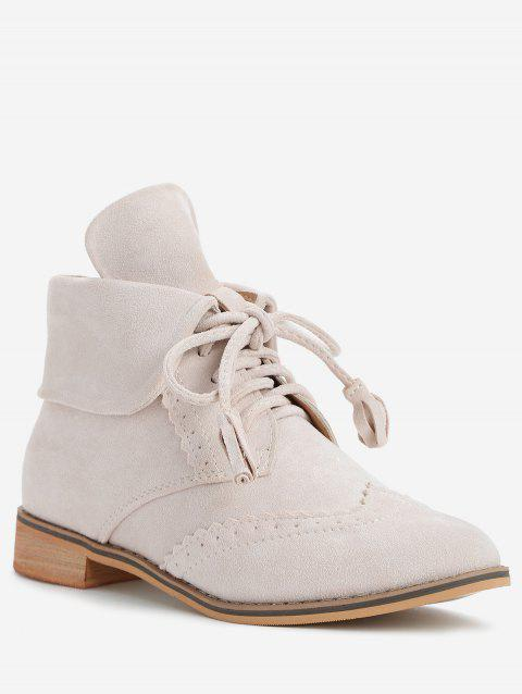 Wingtip Fold Over Low Heel Boots - BEIGE 39