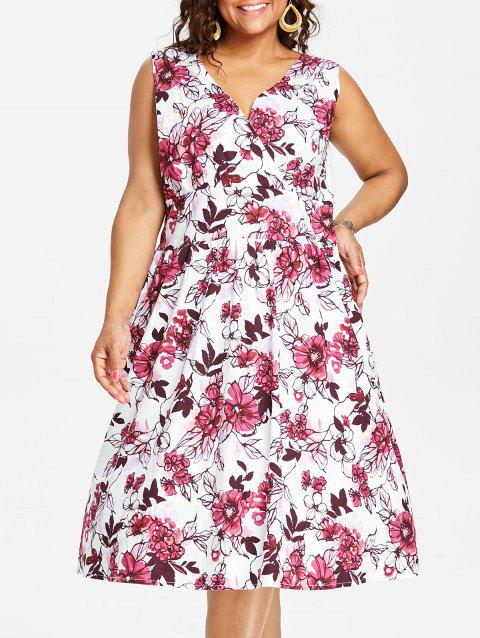 Plus Size Flared Floral Midi Dress - DEEP PINK 2X